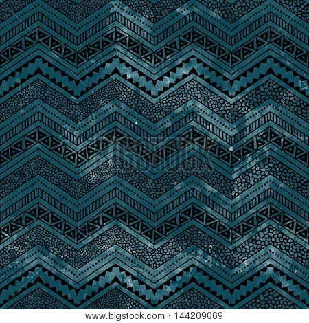 Seamless geometric background. Blue watercolor texture. Ethnic and tribal motifs. Zigzag - black horizontal line. Handmade. Vector illustration.
