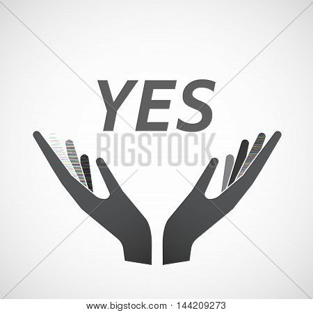Isolated Hands Offering Icon With    The Text Yes