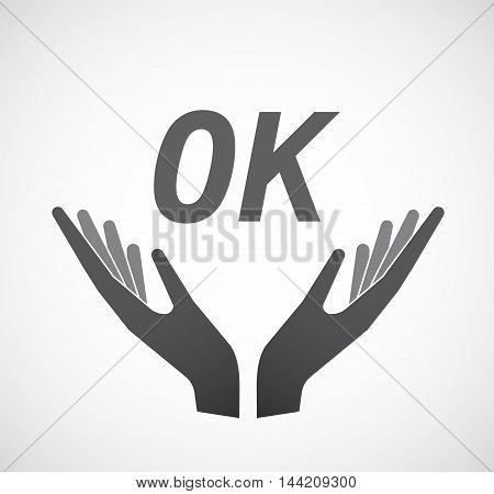 Isolated Hands Offering Icon With    The Text Ok