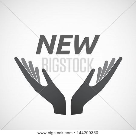 Isolated Hands Offering Icon With    The Text New