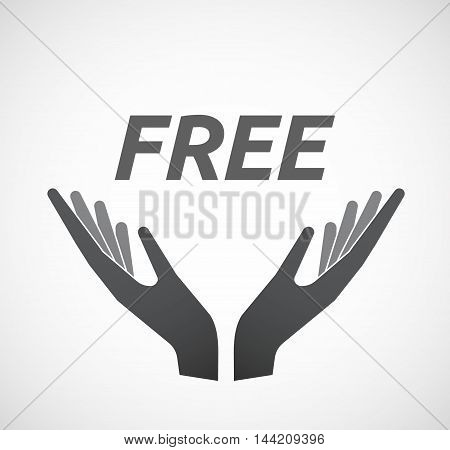 Isolated Hands Offering Icon With    The Text  Free