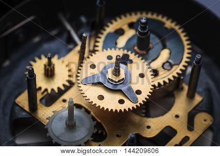 The macro view of old clock mechanism