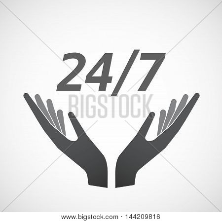 Isolated Hands Offering Icon With    The Text 24/7