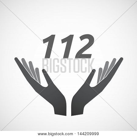 Isolated Hands Offering Icon With    The Text 112