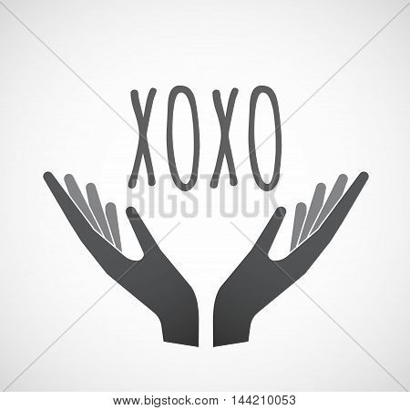Isolated Hands Offering Icon With    The Text Xoxo