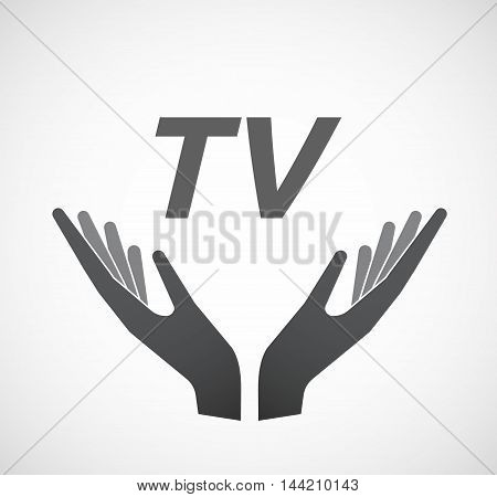 Isolated Hands Offering Icon With    The Text Tv