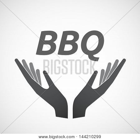 Isolated Hands Offering Icon With    The Text Bbq