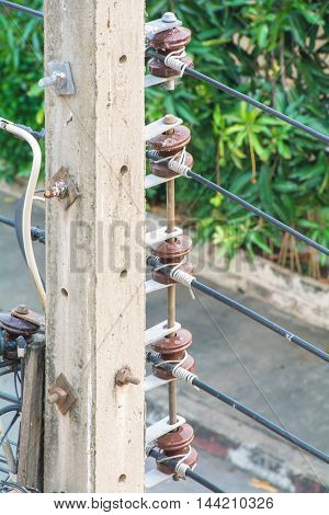 line electricity post near the road in Thailand
