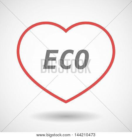 Isolated  Line Art Heart Icon With    The Text Eco