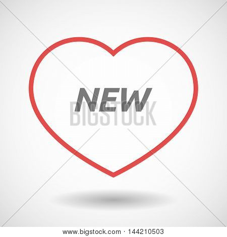Isolated  Line Art Heart Icon With    The Text New