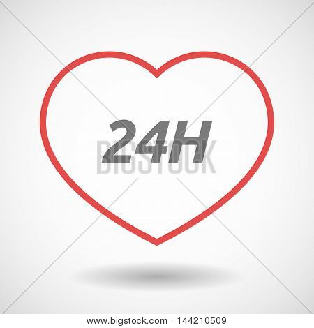 Isolated  Line Art Heart Icon With    The Text 24H