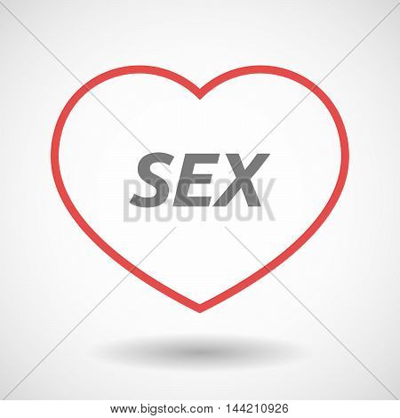 Isolated  Line Art Heart Icon With    The Text Sex