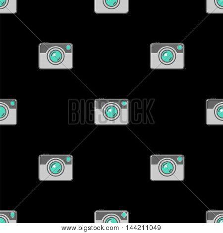 Digital Camera Icon Seamless Pattern on Black Background.