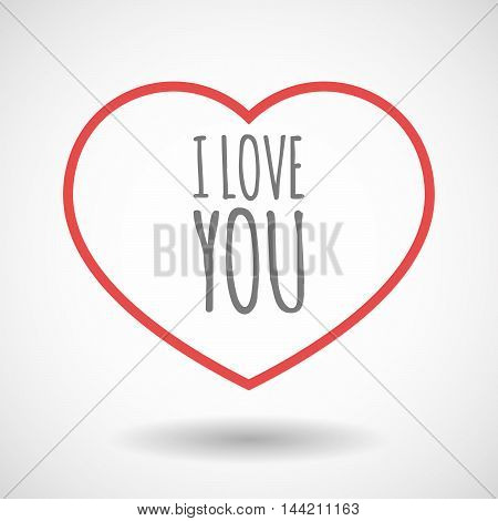 Isolated  Line Art Heart Icon With    The Text I Love You