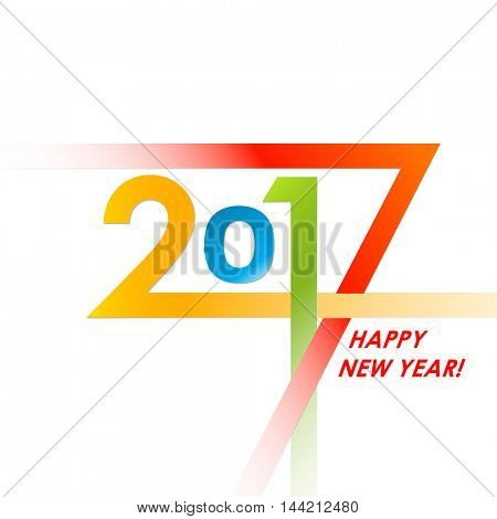 Creative text 2017 with different color strips. New year graphic design creative card. Vector illustration