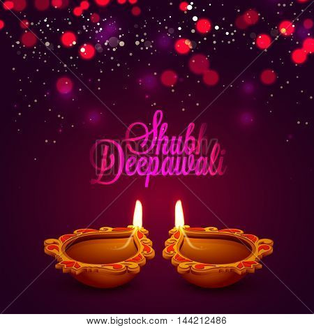 Creative illuminated Oil Lamps (Diya) for Shubh Deepawali (Happy Deepawali) celebration, Beautiful glowing background for Indian Festival of Lights concept, Elegant Greeting or Invitation Card design.
