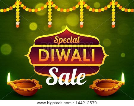Special Diwali Sale Background, Bumper Dhamaka Poster, Clearance Offer Banner or Flyer, Vector Illustration with Illuminated Oil Lit Lamps.
