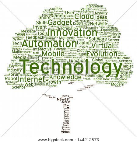 Concept or conceptual digital smart technology tree word cloud isolated on background