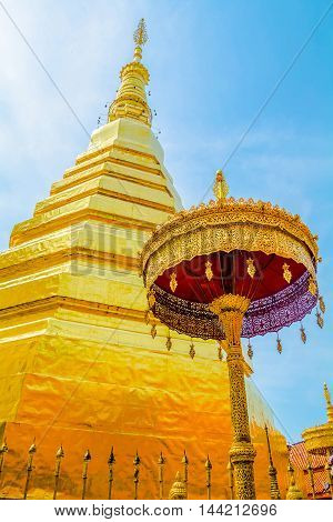 pagoda in WAT PHRATHAT CHOHAE TEMPLE THAILAND