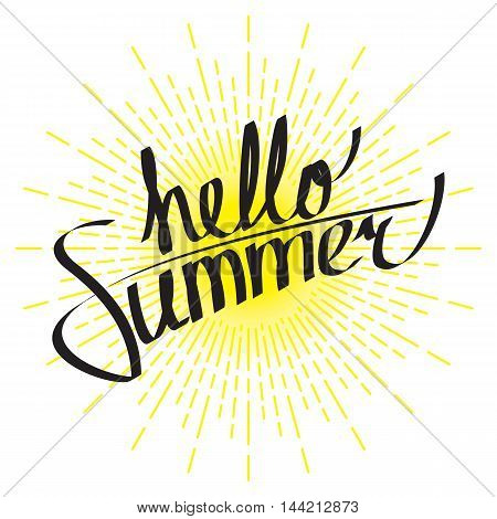 Hello summer lettering composition with linear drawing of sunshine rays in vintage style on white background. Vector eps8 illustration.