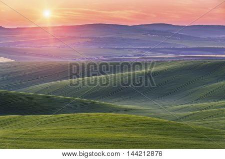 Green Field On Hills