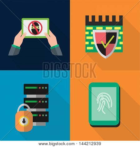 Set of great flat icons with style long shadow icon and use for security, protection, privacy, safety and much more.