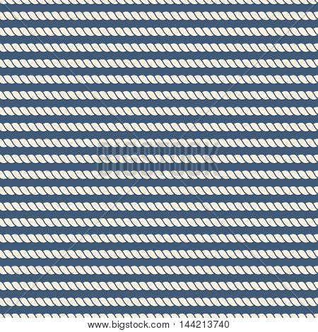 Striped nautical ropes seamless background. Strong cable and simple line, vector illustration