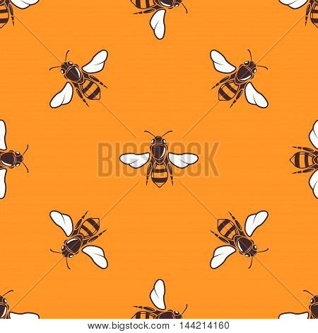 Flying bees vector seamless pattern in bright orange. Background summer template illustration