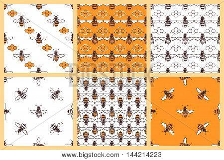 Honey and bees vector seamless patterns. Set of background with bee illustration