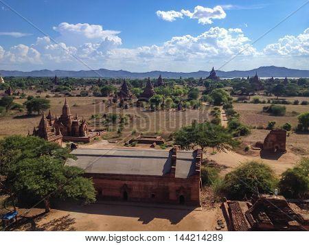 View at the valley of Bagan with ancient pagoda. The Temples of bagan Bagan (Pagan) Myanmar.