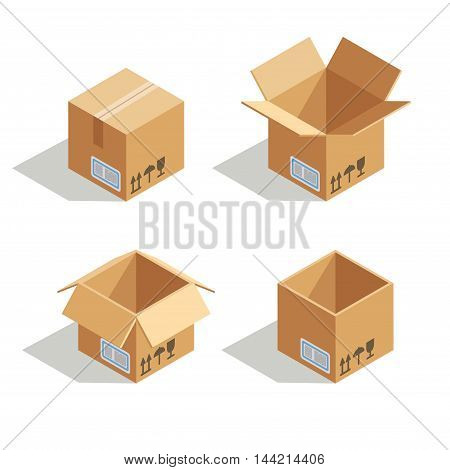 Cardboard open box. Empty container package for delivery and storage, vector illustration