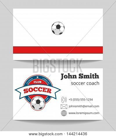Soccer coach business card template with logo. Football trainer card, vector illustration