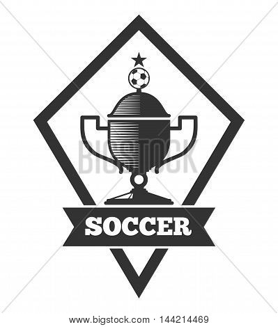 Vector soccer logo template, emblem in black isolated over white. Football cup logo illustration
