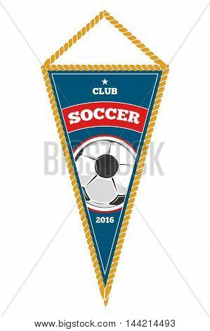 Blue soccer pennant isolated white. Object for football team. Vector illustation