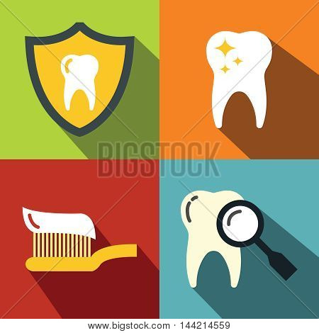 Dentistry medical flat icons on color background with long shadow. Oral hygiene and medicine. Vector illustration