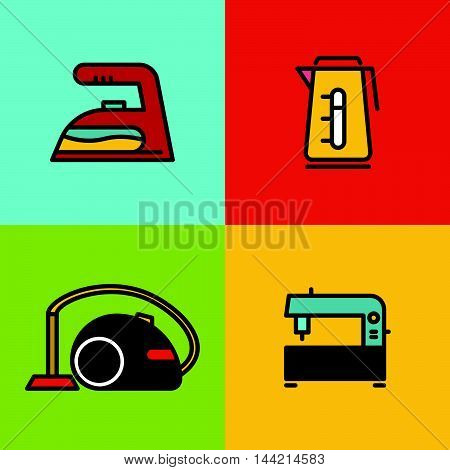 Household appliances color icons on color background. Vector illustration