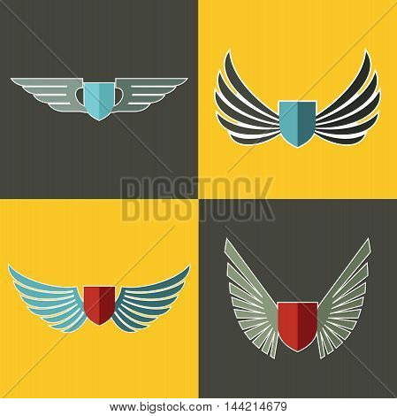 Wings logo for company on yellow and brown background. Set of logotype with shield. Vector illustration