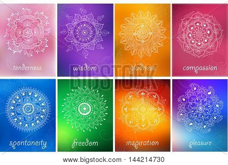 Vector set of abstract mandala background with henna patterns. Stock mehndi illustration for design