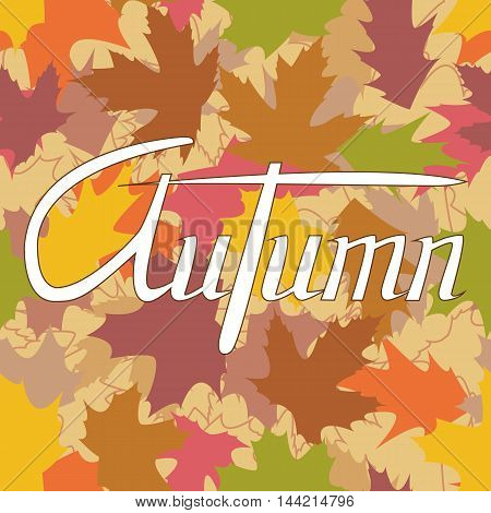 Vector card template with colorful autumn leaves and text.