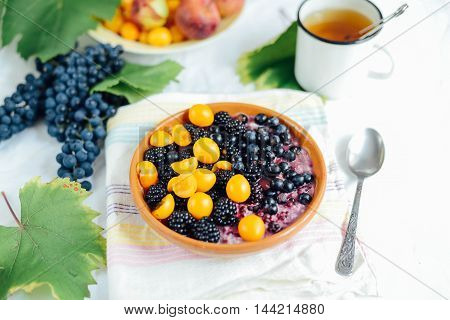 Muesli With Almonds And Blueberriesbreakfast Cereals With Bluebe