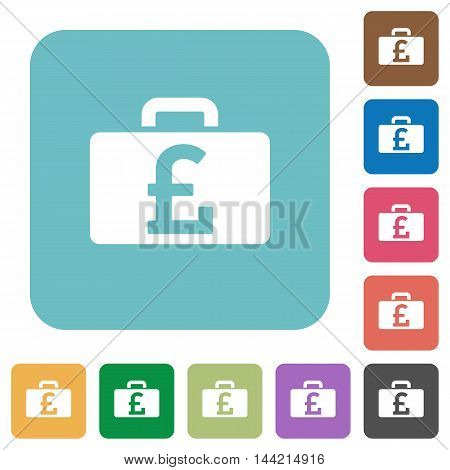 Flat Pound bag icons on rounded square color backgrounds.