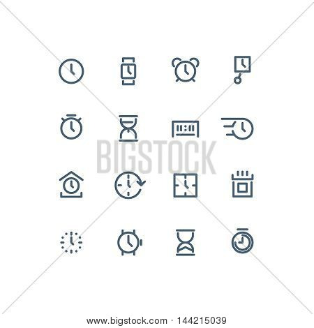 Set of different time icons. Clock, watch, calendar, sand watch, chronometer. Line art vector illustration. Clock set. Clock line icon. Clock logo. Clock interface icon. Clock app icon