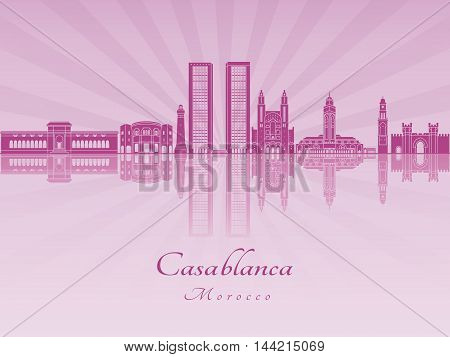 Casablanca skyline in purple radiant orchid in editable vector file