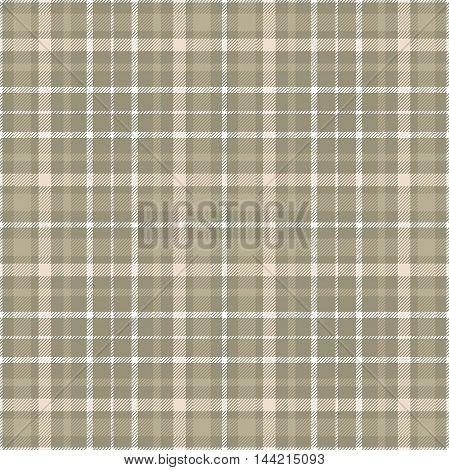 Seamless tartan plaid pattern in shades of khaki brown, beige & white.