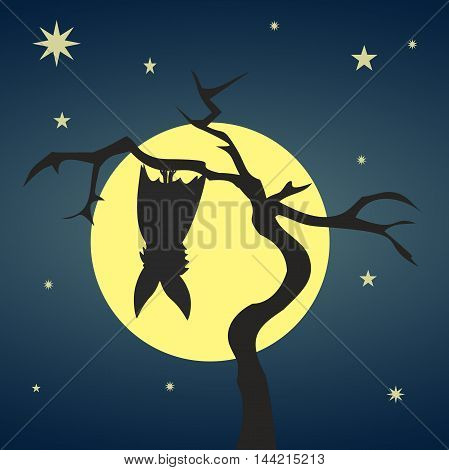 Silhouette bat hanging on a dry tree on background of full moon and starry nights. Stylish colorful illustration of happy Halloween. Vector symbolizes the spirit and mystery of the holiday.