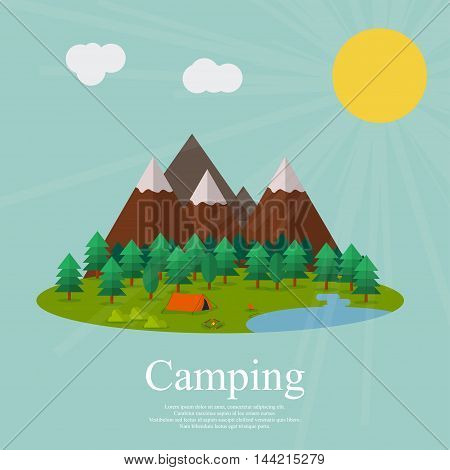 Vector flat illustration camping , isolated on a green background