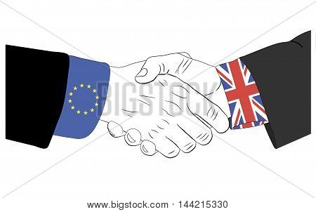 Handshake of the european and british hands