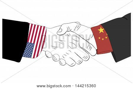 Handshake of the chinese and american hands
