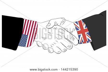 Handshake of the american and british hands