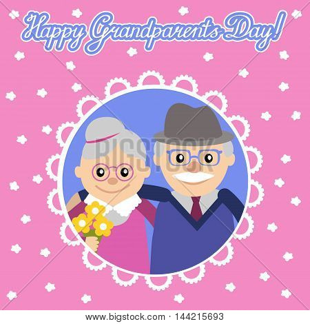 Greeting card for grandparents day. Senior people illustration.